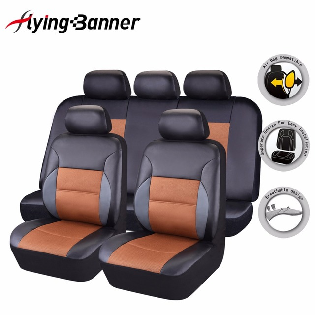 Flying Banner Black Brown PU Leather Car Seat Covers Universal Car Interior Accessories High Quality Front Rear 11 pieces