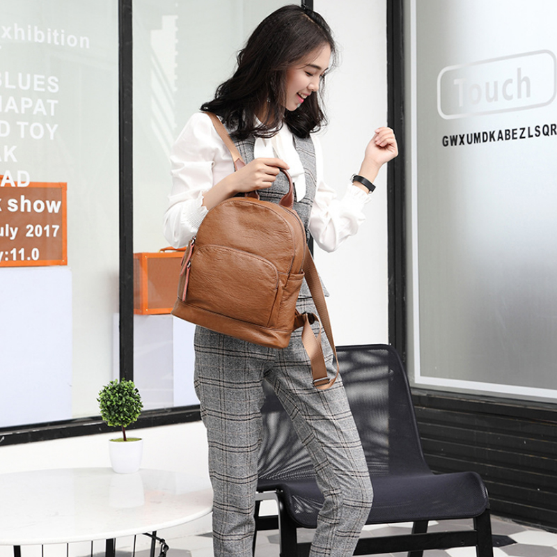 Fashion Women Backpack High Quality Youth Leather Backpacks for Teenage Girls Female School Shoulder Bag annmouler famous brand women leather backpack alligator backpacks high quality elegant shoulder bag black school bag for girls