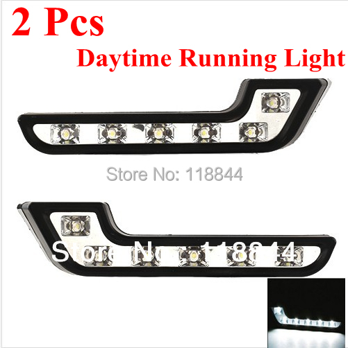 1Pair 12 LED Universal DRL LED Light ABS Daytime Running Lights Good Fitment Day Running light Fog Lamp Bulb White For VW Toyota 6 led white ip68 day running light for benz e series pair
