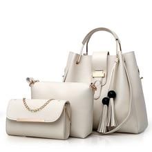 3pcs Women Bag Set Fashion Crossbody Bags For Leather Shoulder Messenger Large Totes Bucket Composite Black White