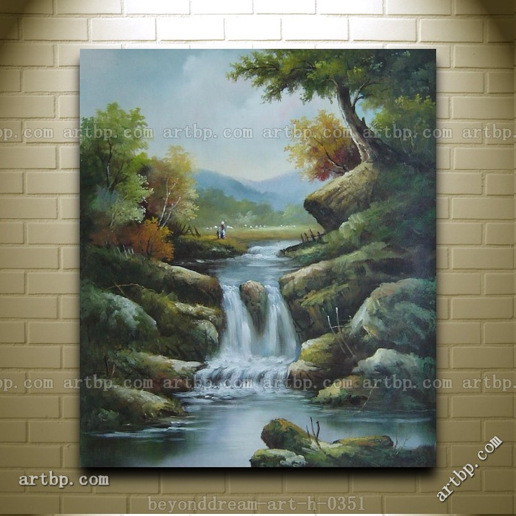 Small water fall swirling over rocks oil painting classic - Painting rocks for garden what kind of paint ...