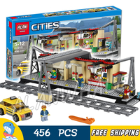 456pcs Trains Series City Classical Train Station Model Building Blocks 02015 Assemble Bricks Children Toys Compatible