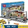 456pcs Trains Series City Classical Train Station Model Building Blocks 02015 Assemble Bricks Children Toys Compatible