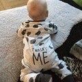 Outono carta Bonito Infantil Do Bebê Macacão de Bebê Recém-nascido Da Menina do Menino Roupas de Algodão Crianças Uma Peças Macacão Roupa Do Bebê 3 M-24 M