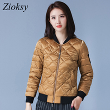 2017 New Autumn Winter Women Baseball Cotton Padded Jacket Fashion Short Slim Stand Collar Epaulet Ladies Casual Parkas Coat