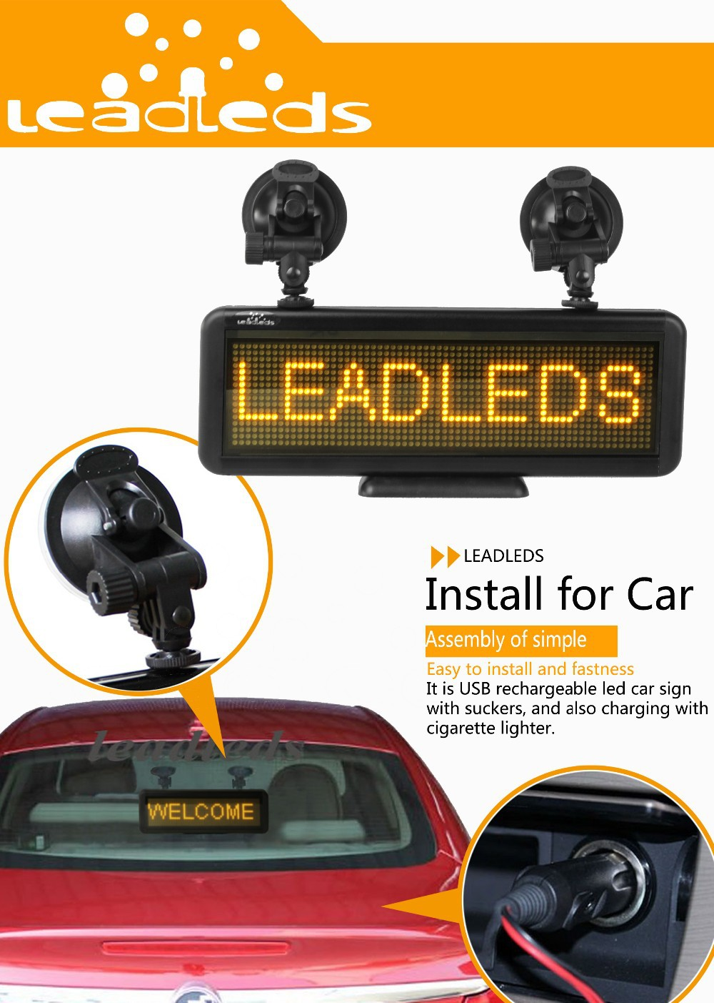 Leadleds Multipurpose Led Handheld Sign Led Car Sign Led Tabletop Programmable Sign Board By Android Bluetooth  Pc Send Messages (Amber light)