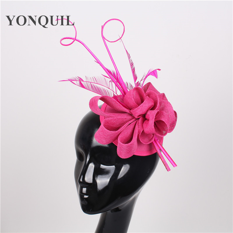 NEW ARRIVAL 17 color imitation sinamay fascinator hat with Ostrich pole wedding headwear party headpieces Derby hair accessories women s hats and fascinators vintage sinamay sagittate feather fascinator with headband tocados sombreros bodas free shipping