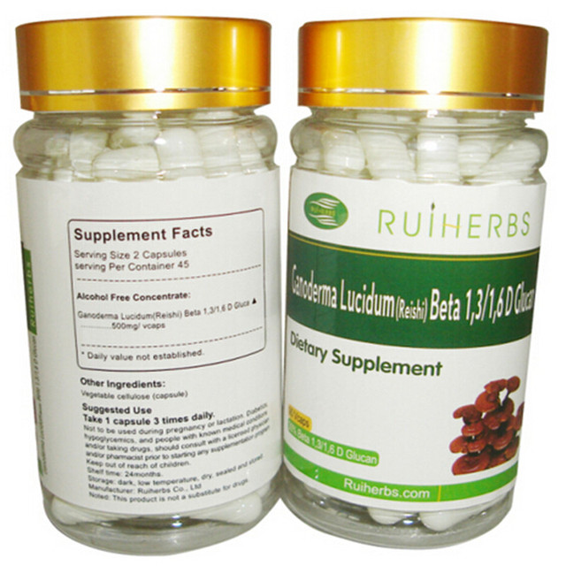3Bottles Ganoderma Lucidum Extract 30% Beta Glucan Capsule 500mg x 270pcs free shipping