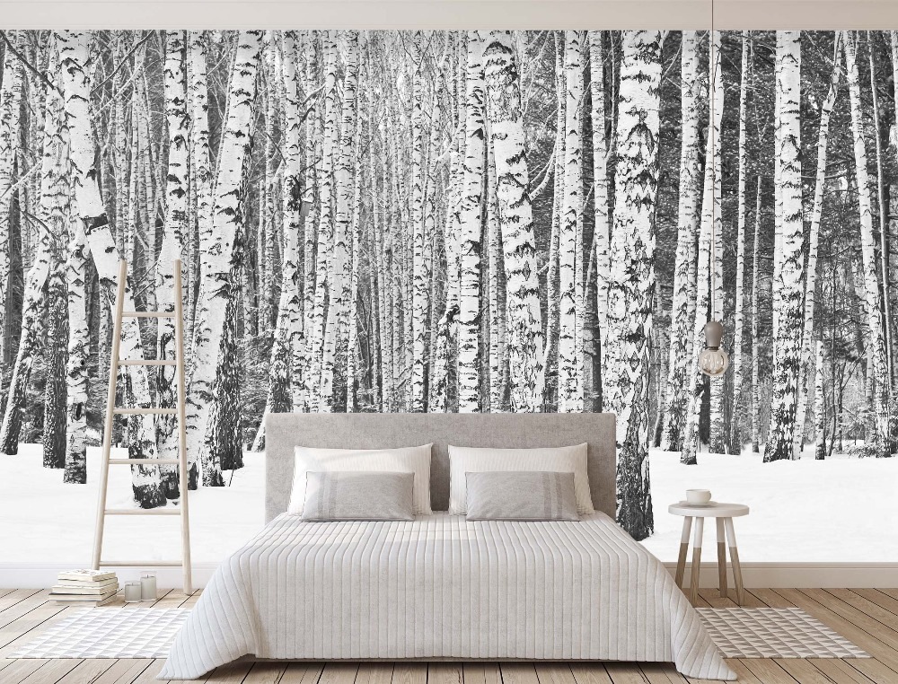 [Self-Adhesive] 3D White Snowy Birch Forest 55 Wall Paper Mural Wall Print Decal Wall Murals