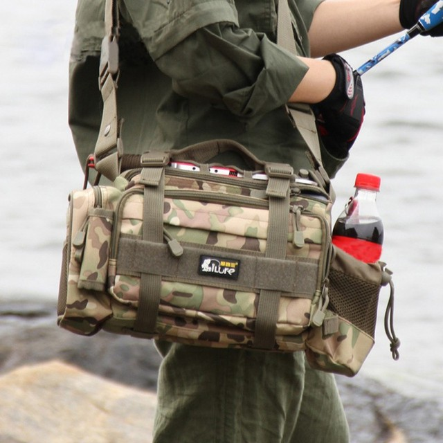 Special Offers Fishing Bag Multi-function Fishing Tackle Bag 1200D Canvas Waterproof Canvas Waist Fishing Lure Bag Shoulder 4 Color