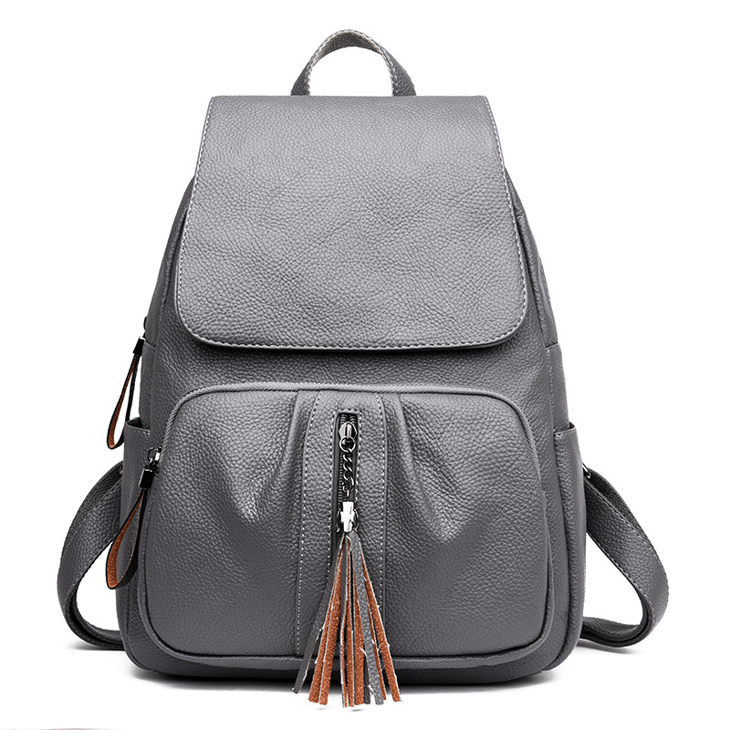 Fashion Tassel Genuine Leather Women Backpack Casual School Bags For Teenagers Girls High Quality Female Travel BackPacks brand women bow backpacks pu leather backpack travel casual bags high quality girls school bag for teenagers