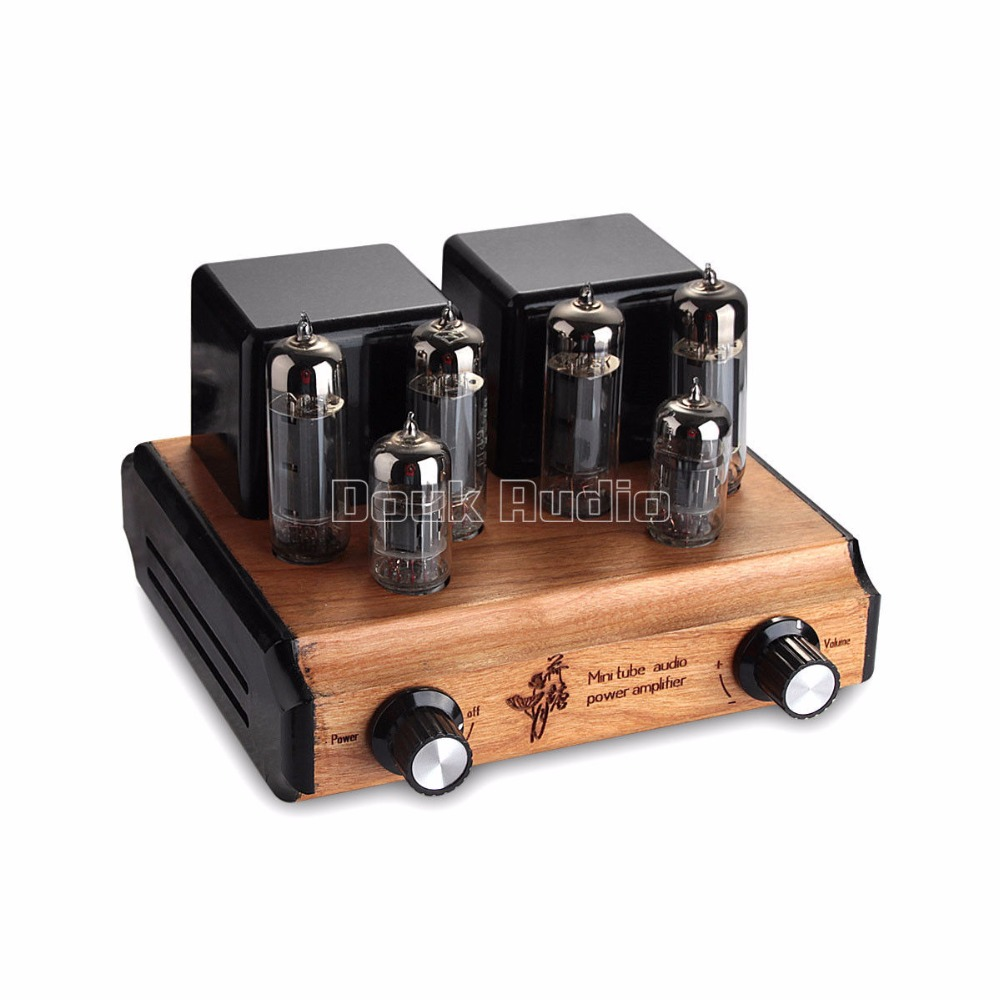 Douk Audio Mini Pure handmade 6P14(EL84) Vacuum Tube Amplifier Push-pull Stereo Class A Power Amp 8W*2 silver mini tube amplifier appj pa0901a 6n4 6p14 tube upgrade to el84 12ax7b original minwatt n3 smallest tube audio amplifier