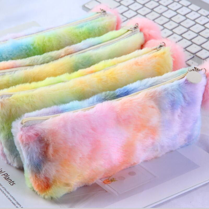 Multi-Color Rainbow Plush Pencil Case Fur Ball PencilCase For Girl Plush Pencil Box Kawaii Hairball Makeup Bag School Stationery