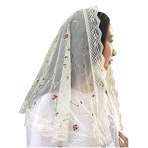 Image 1 - New Ivory Lace Women Catholic Veil Mantilla for Church Head Covering Latin Mass Embroidery Floral Tulle Mantilla de Novia Negra