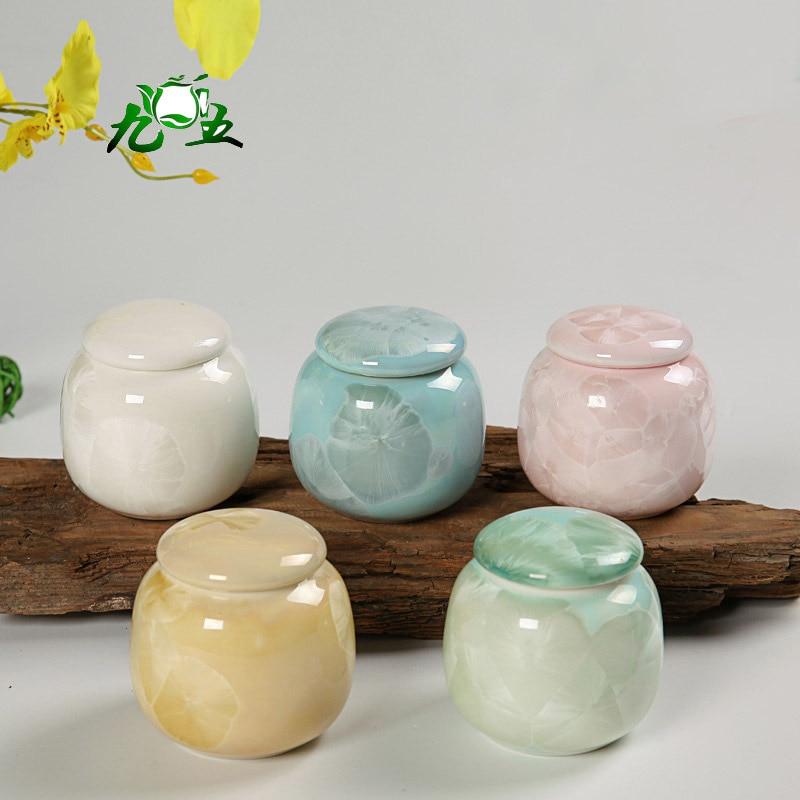 Fargerik Elegant Mini Porselen Luftet Matcha 30g Te Caddy Piller - Kjøkken, spisestue og bar