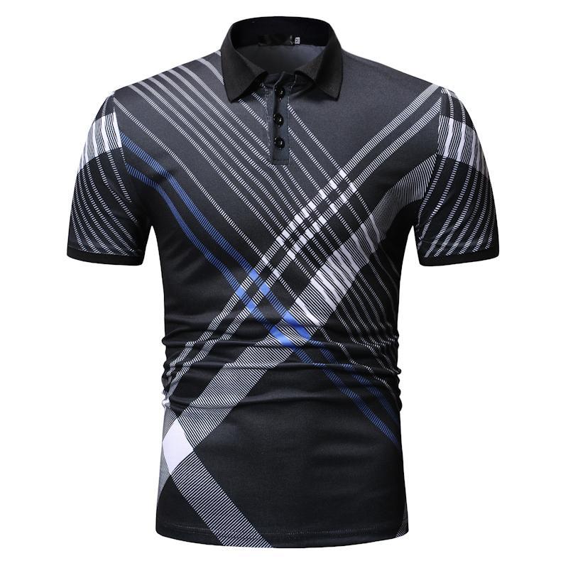 Fashion Lattice Plaid Men   Polo   Shirt Check Casual Tees Tops Men's Clothing   Polo   Shirt Men Short sleeve Dark blue Black