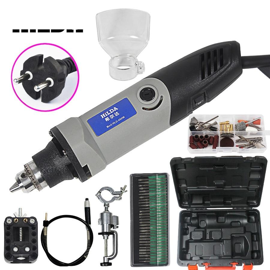 400 W Dremel estilo eléctrico de velocidad Variable herramientas giratorias Mini taladro Mini rectificadora con 84 unids piezas de Metal conjunto