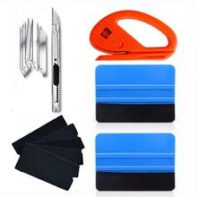 FOSHIO оконная пленка набор инструментов для тонировки автомобильные аксессуары виниловый автомобильный скребок для обертывания скребок+ 5 шт. тканевый Войлок наклейка для автомобиля нож