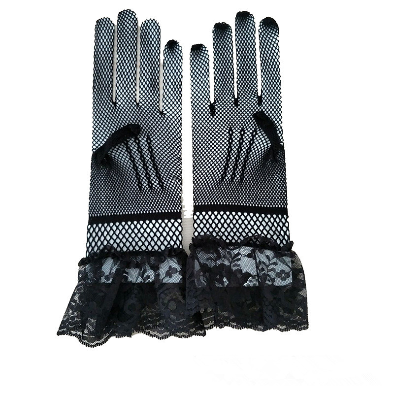 JaneVini Black Bridal Gloves Lace Finger Short Cheap Wedding Accessories White Wrist Length Wedding Gloves 2018 Kant Handschoen