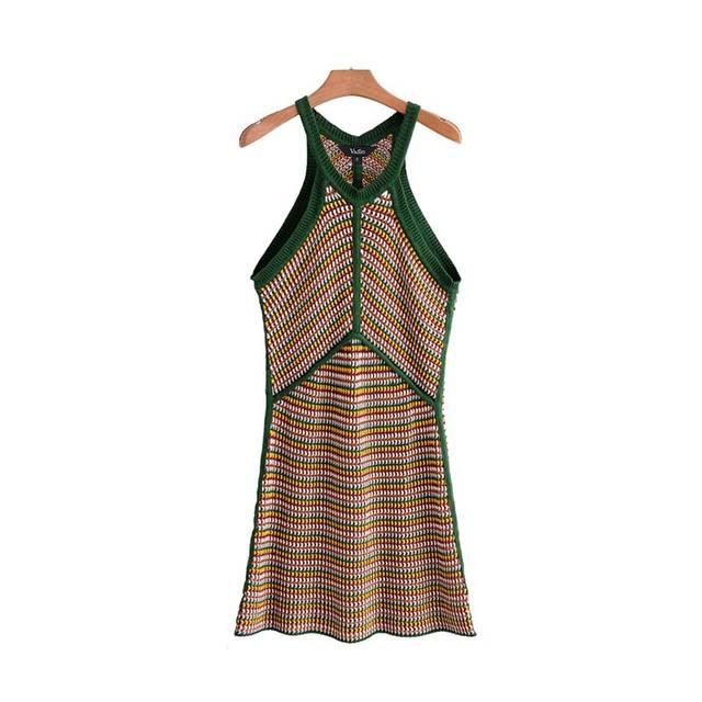 Women Halter Knitted Mini Dress Sleeveless Vintage Striped Casual A Line Chic Dress Vestidos Qb573