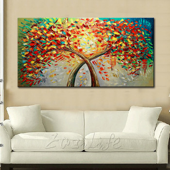 Canvas Painting Hand Painted palette knife 3D texture Flower Tree Wall Pictures For Living Room Christmas decorations for home72