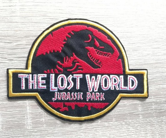THE LOST WORLD JURASSIC PARK iron on biker vest patches Dinosaur embroidery appliques accessoriy wholesale