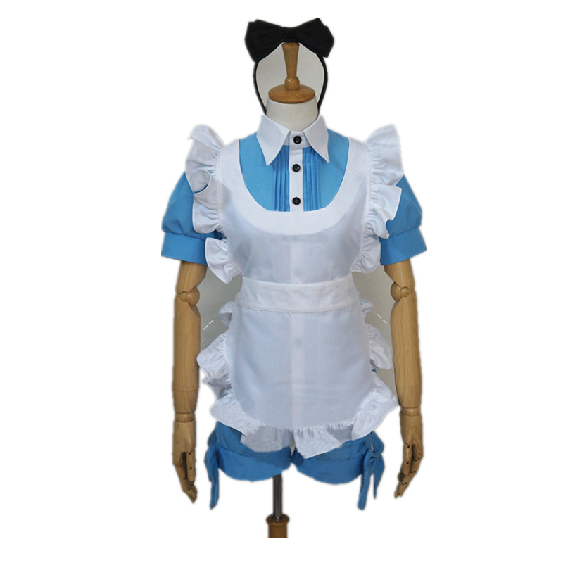 Hot New Black Butler Ciel in Wonderland Manga Anime Uniform Cosplay Costume Maid Dress Free Shipping