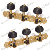 3R3L Gold String Tuning Peg Tuners Machine Heads for Classical guitar accessories parts Musical instrument With Black Button