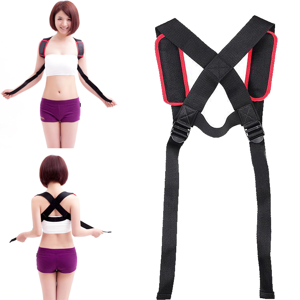 Unisex Adjustable Back Posture Corrector Brace Back Shoulder Support Belt Posture Correction Belt for Men Women Black back posture correction belt for children beige