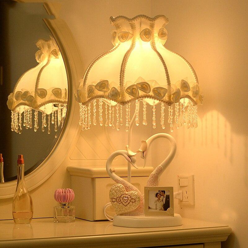 Пара лебедей современные смолы LED Настольные лампы для Спальня Гостиная прикроватная моды настольная лампа Luminarias Декоративные светильники