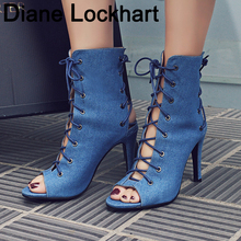 Summer Sandals Boots Sexy Lace-UP Sandals Cross Strappy Peep Toe Shoes 2019 Spring Autumn Women Ankle Boots 10cm Stiletto Heels super high heels lace up ankle boots for woman spring autumn peep toe patchwork tassels short boots stiletto heels booties