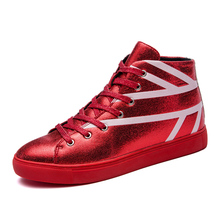 Sequined Cloth Round Toe High Top Men Casual Shoes Lace Up Fashion Sneakers Mens Flats Shoes