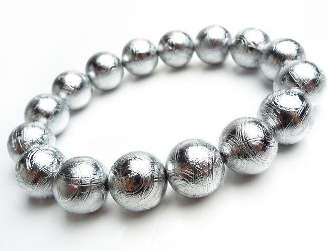 ec9eb65c04da7 US $1388.0 |Genuine Natural Gibeon Meteorite Silver Plated Bracelets Women  Popular Mens 14mm Stretch Charm Big Round Beads Bracelet Unique-in Strand  ...