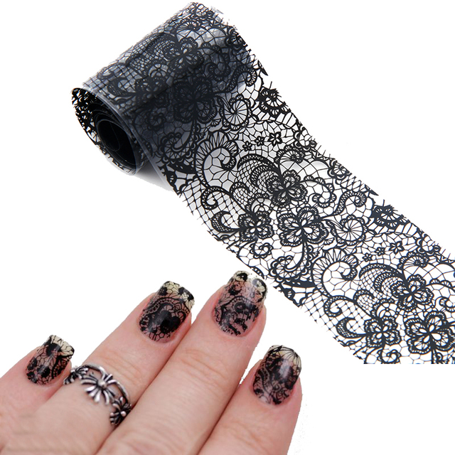 Hot Black Lace Flowers Nail Art Transfer Foils Adhesive Stickers For Nail Art Polish Wrap Decorations Accessories Nail Tools