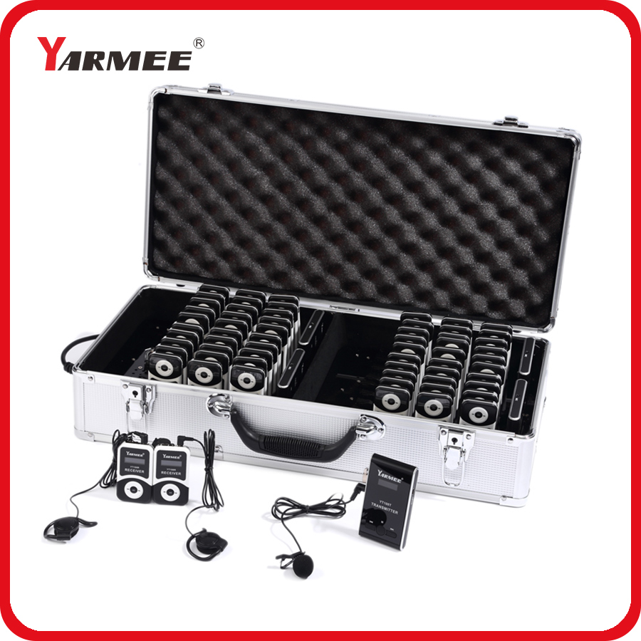 YARMEE полный набор портативный беспроводной гид системы включая 2 Передатчики + 60 приемники все аксессуары зарядное устройство чехол