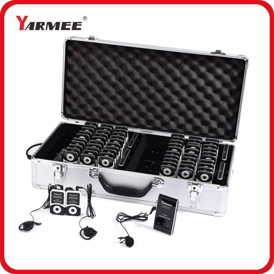 YARMEE Ensemble Complet Portable Sans Fil Tour Guide système Y Compris 2 Émetteurs + 60 Récepteurs + Tous Les Accessoires + Chargeur Cas