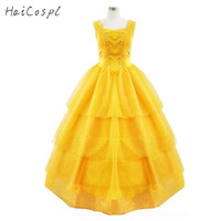 Beauty And The Beast Costumes Belle Dresses Fairy Tale Lady Dress Yellow Belle Princess Dress Girls