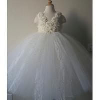 Princesa Ivory Flower Girl vestidos del tutú del cordón del niño del banquete de boda niñas vestidos para ocasiones especiales niños puffy vestidos de fiesta de cumpleaños