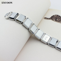 Free Shipping 316L Stainless Steel Square Grey Crystal Top Quality Chain Bracelets Charming Bracelets For Women
