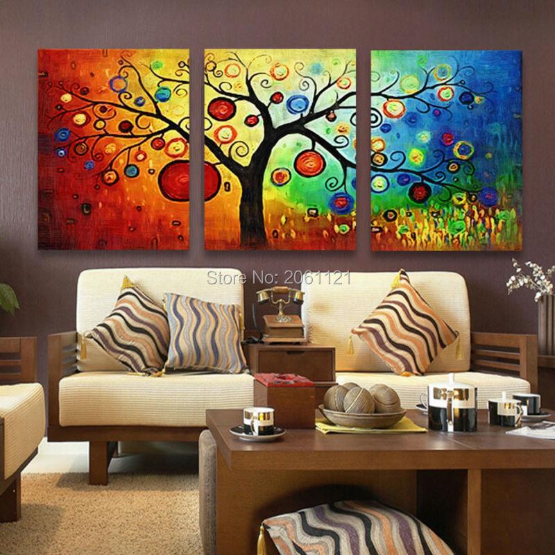 3 Piece Modern Abstrak Terang pohon Landscape Lukisan Minyak Di Atas Kanvas multi warna Wall Art untuk ruang tamu Rumah Hadi ...