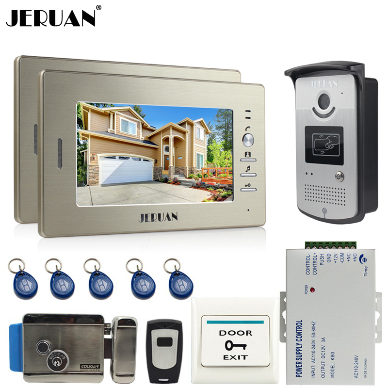 JERUAN Brand New 7 inch LCD Screen Video DoorPhone Intercom System 2 Monitors + 700TVL RFID Access Camera for 2 house rfid keyboard ip65 waterproof video doorphone intercom system for 3 apartments with 7 color lcd video intercom system in stock