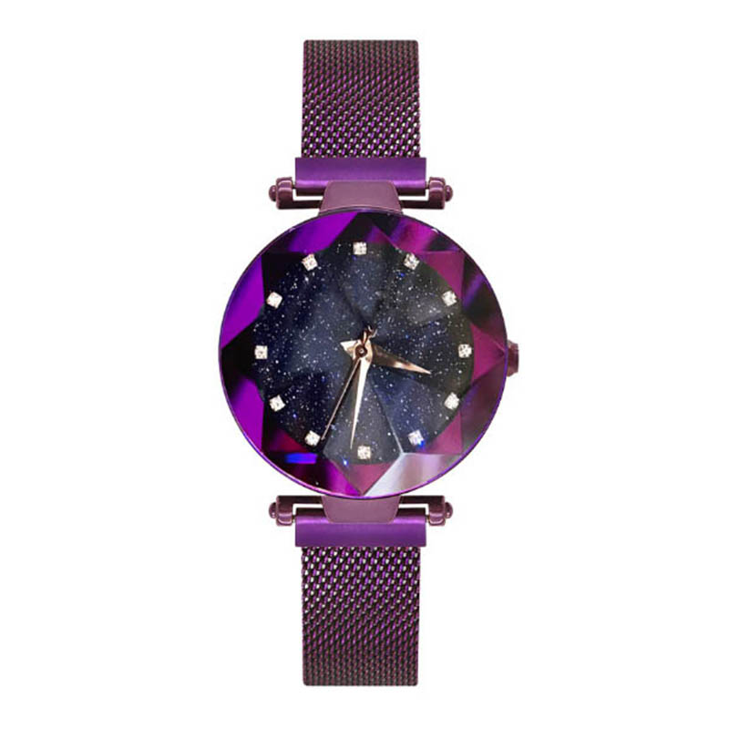 Women Stylish Quartz Wrist Watch Mesh Alloy Magnet Strap Starry Sky Dial Casual Watches LXH paidu splice color dial quartz mesh stainless steel strap wrist watch simple stylish men women casual round dial modern
