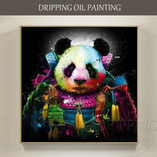Best Wall Art Hand-painted Warrior Panda Oil Painting on Canvas Funny Wearing Armor Special