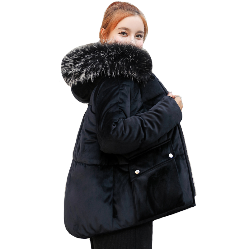 2019 Velvet Women Winter Jacket Hooded With Fur Cotton Padded   Down     Coat   Short Female With Two Big Pockets parka