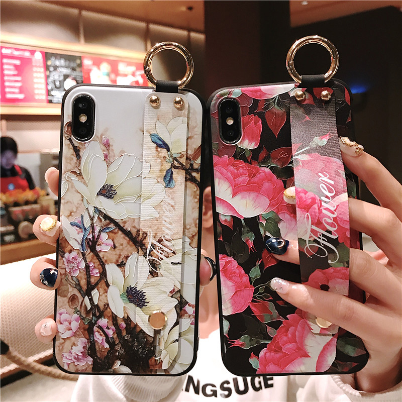8 SoCouple Wrist Strap Soft TPU Phone Case For iphone X Xs max XR Case For iphone 6 6s 7 8 plus Flower Pattern Phone Holder Case