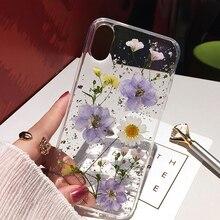 Qianliyao высушенный цветок серебряная фольга прозрачные чехлы для телефонов iPhone XS Max XR X 6 6S 7 8 Plus 11 Pro Max Мягкая силиконовая задняя крышка