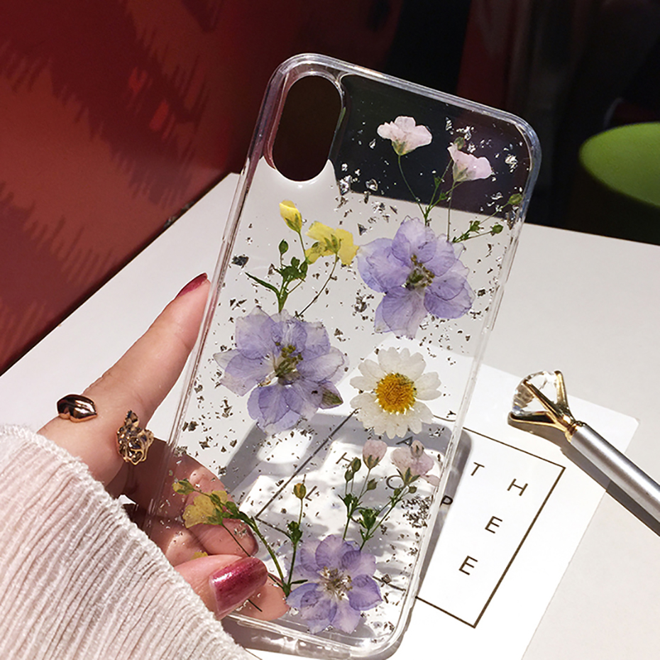 Qianliyao Dried Flower Silver Foil Clear Phone Cases For IPhone XS Max XR X 6 6S 7 8 Plus 11 Pro Max Soft Silicone Back Cover