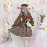 Free shipping 2019 Japanese Cat Detective British Fengzi Embroidered Cloak Dress Lolita Dress Suit for Autumn and Winter