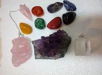 11 stücke Chakra Heilung Kit/Lot von 7 Chakra stürzt, Chakra Pendel, Amethyst Cluster, Raw Rosenquarz, und Kristall Poi