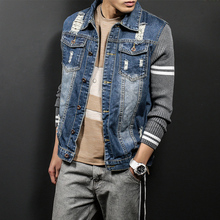 2017 Men's Denim Jeans Jacket Ripped Knitted Sleeve Jean Jackets Male Korean Slim Fit Outfit Fashion Casual Windbreaker Coat Men